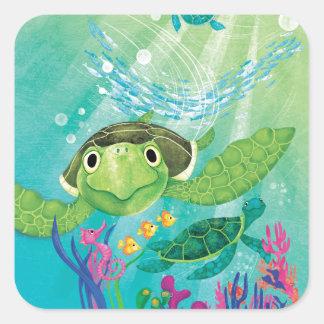 A Sea Turtle Rescue Square Sticker