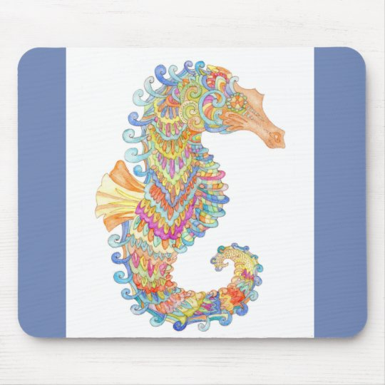 A seahorse mouse pad in navy blue