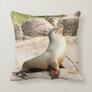 A seal enjoying the sun. throw cushion