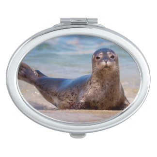 A seal on a beach along the Pacific Coast Vanity Mirror