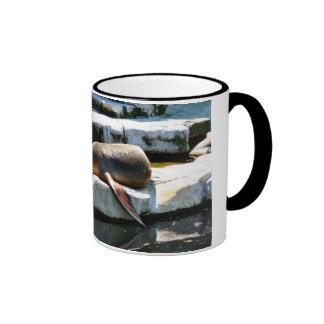A Seal Sleeping on a platform Ringer Coffee Mug