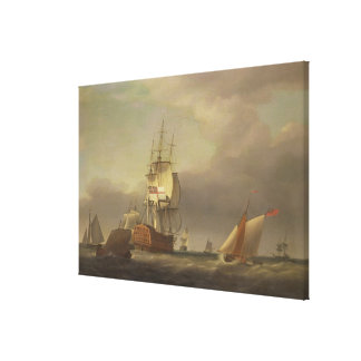 A Seascape with Men-of-War and Small Craft (oil on Canvas Print