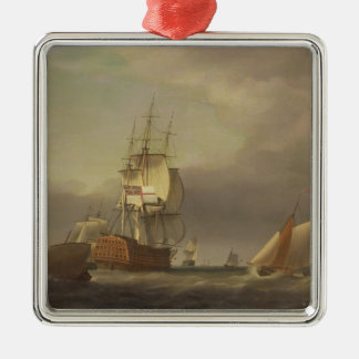 A Seascape with Men-of-War and Small Craft (oil on Christmas Ornament
