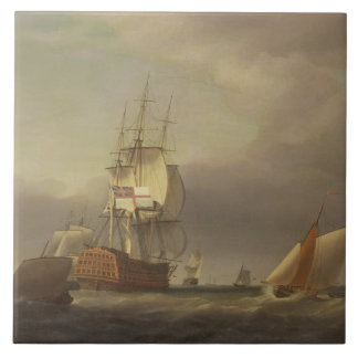 A Seascape with Men-of-War and Small Craft (oil on Large Square Tile