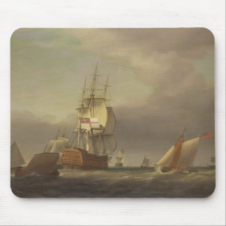 A Seascape with Men-of-War and Small Craft (oil on Mouse Mat