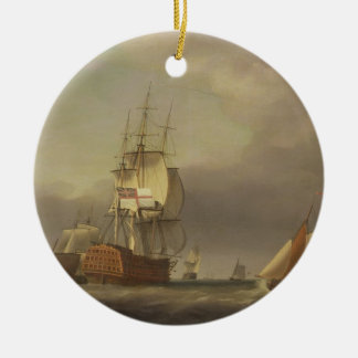 A Seascape with Men-of-War and Small Craft (oil on Round Ceramic Decoration