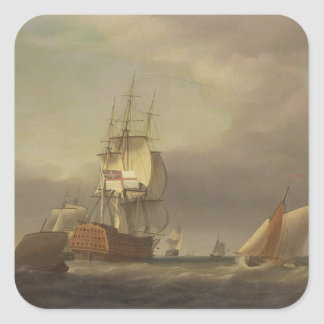 A Seascape with Men-of-War and Small Craft (oil on Square Sticker