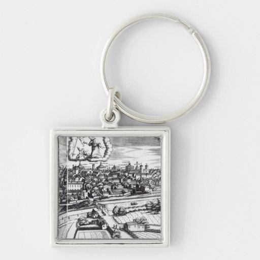 A Section of a Map of Milan, 1640 Keychain