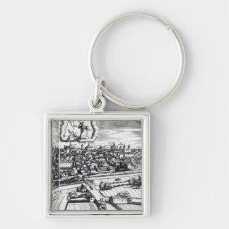 A Section of a Map of Milan, 1640 Silver-Colored Square Key Ring