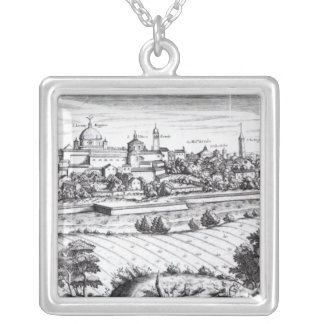 A Section of a Map of Milan, 1640 Silver Plated Necklace