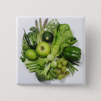 A selection of green fruits & vegetables. 15 cm square badge