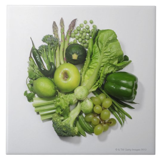 A selection of green fruits & vegetables. large