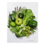 A selection of green fruits & vegetables. post card