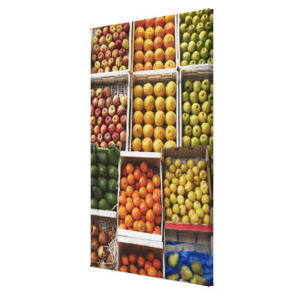 A selection of organic boxed fruit on canvas print