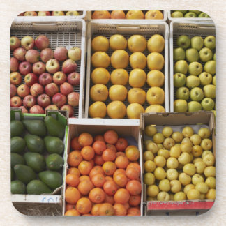 A selection of organic boxed fruit on coaster
