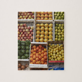 A selection of organic boxed fruit on jigsaw puzzle