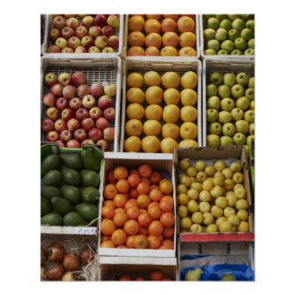A selection of organic boxed fruit on poster
