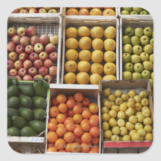 A selection of organic boxed fruit on square sticker