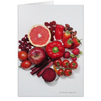 A selection of red fruits & vegetables. card