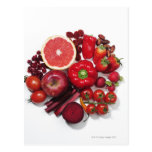A selection of red fruits & vegetables. post cards