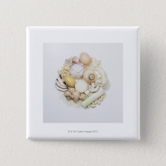A selection of white fruits & vegetables. 15 cm square badge