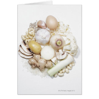 A selection of white fruits & vegetables. card