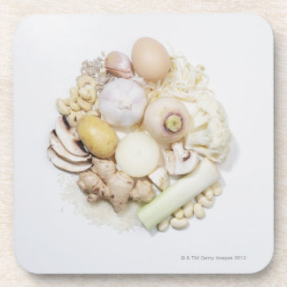 A selection of white fruits & vegetables. coaster