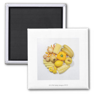 A selection of yellow fruits & vegetables. magnet