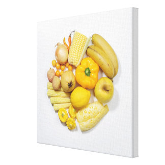 A selection of yellow fruits & vegetables. stretched canvas prints