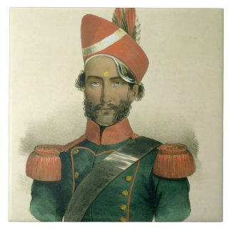A Sepoy: an Indian Soldier in the French Battalion Large Square Tile