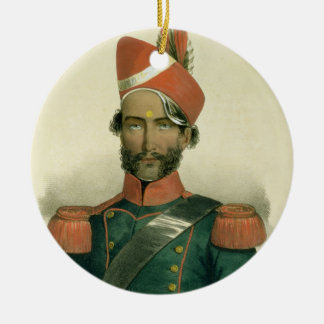 A Sepoy: an Indian Soldier in the French Battalion Round Ceramic Decoration