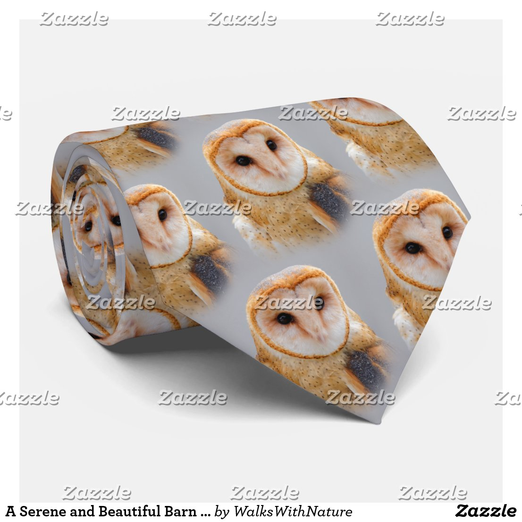 A Serene and Beautiful Barn Owl Tie