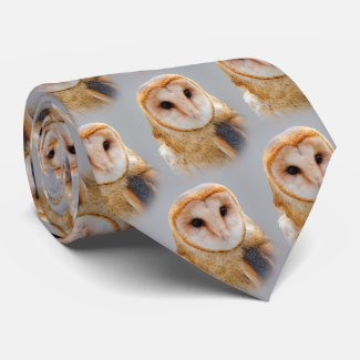A Serene and Beautiful Barn Owl Tie