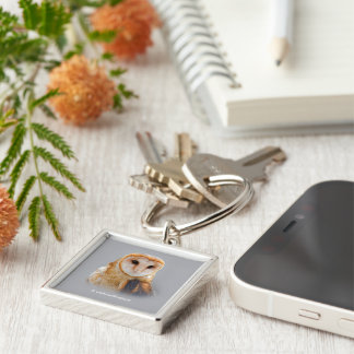 A Serene Barn Owl Silver-Colored Square Key Ring