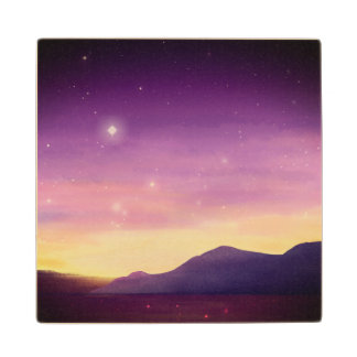 A serene purple sunset on the ocean painted by st wood coaster