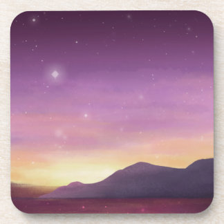 A serene purple sunset painted by starlightskyes. beverage coaster