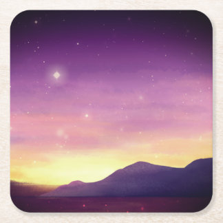 A serene purple sunset painted by starlightskyes. square paper coaster