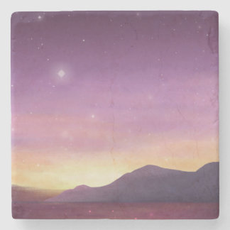 A serene purple sunset painted by starlightskyes. stone coaster