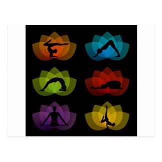 A set of yoga and meditation symbols postcard