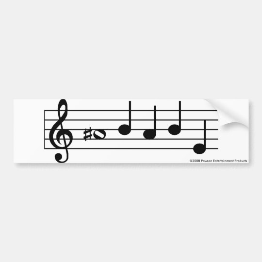 A SHARP BABE musical notes bumper sticker