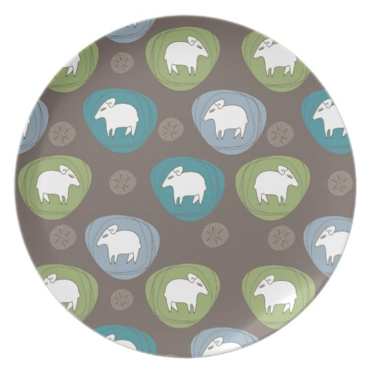 A sheep in ovals plate