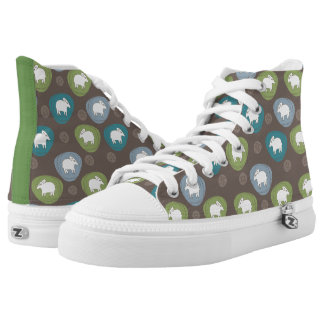 A sheep in ovals printed shoes