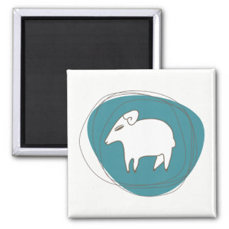A sheep in ovals square magnet
