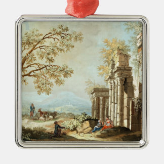 A Shepherd with Goats and other Figures amongst Cl Christmas Ornament