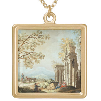 A Shepherd with Goats and other Figures amongst Cl Gold Plated Necklace