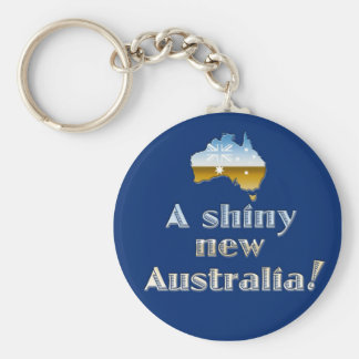A Shiny New Australia Basic Round Button Key Ring