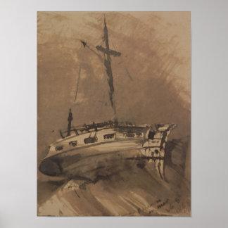 A Ship in Choppy Seas, 1864 Poster