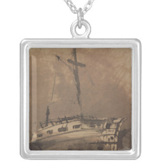 A Ship in Choppy Seas, 1864 Silver Plated Necklace
