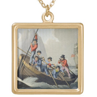 A Ship's Boat Attacking a Whale, engraved by Matth Gold Plated Necklace