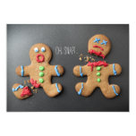 A shocked gingerbread man with broken leg 13 cm x 18 cm invitation card